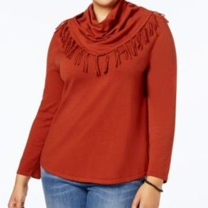 NWT Style Co Plus Size Fringed Cowl-Neck Sweater
